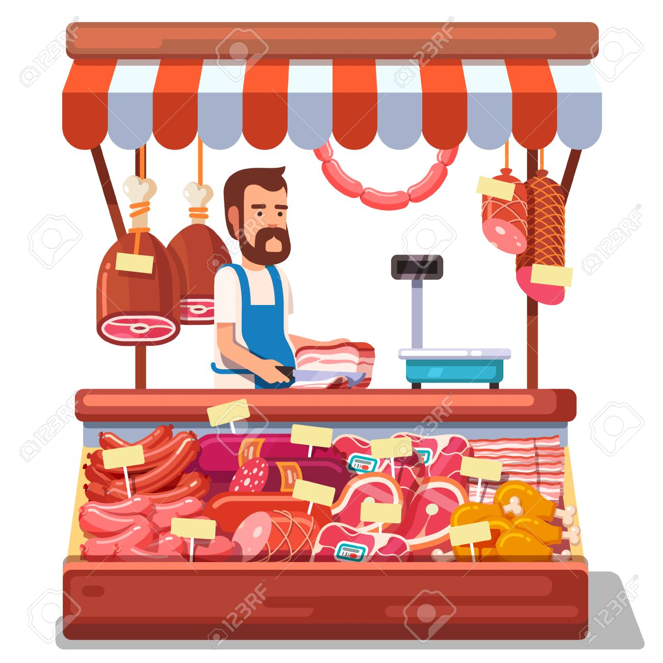 Local market farmer selling fresh meat produce on his stall with awning. Modern flat style realistic vector illustration isolated on white background. - 55251116