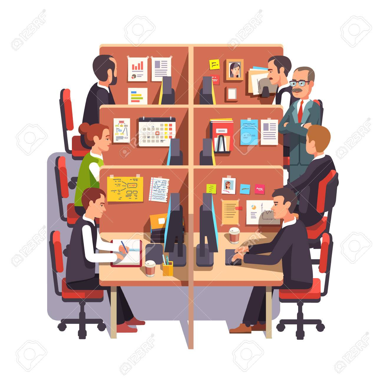 Office work desks Modern Cubicle Office Work Space With Employees At The Desks And Supervising Boss Flat Style Color 123rfcom Cubicle Office Work Space With Employees At The Desks And