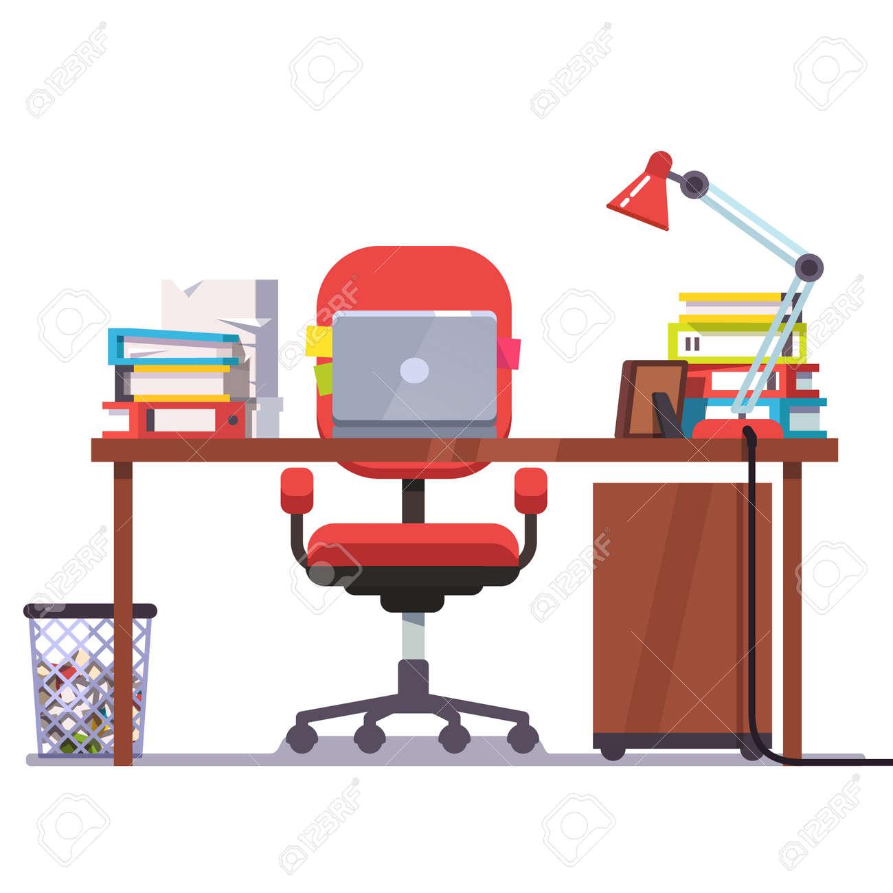 Casa U Oficina Escritorio Con Silla Ruedas, Ordenador Portátil, Algunos  Papeles, Carpetas Y