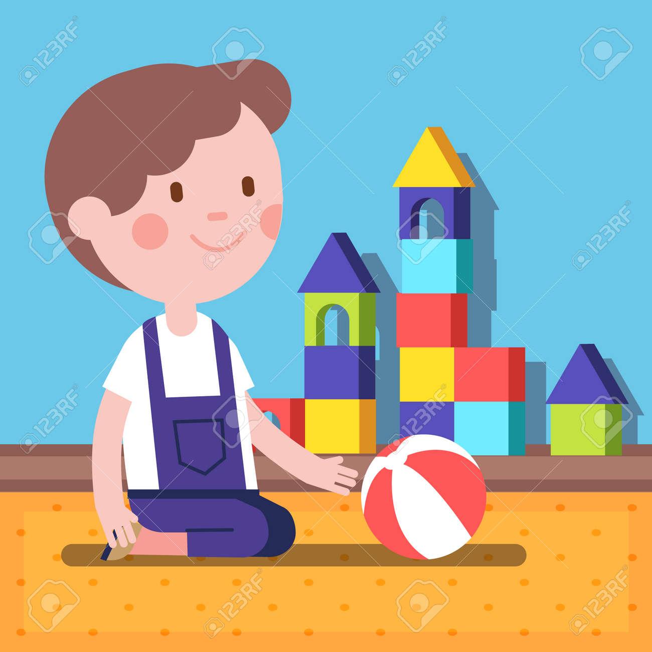 Foto de archivo - Pequeño niño jugando con una pelota en una habitación.  ilustración vectorial plana clipart moderna. 93d7a4a3d15