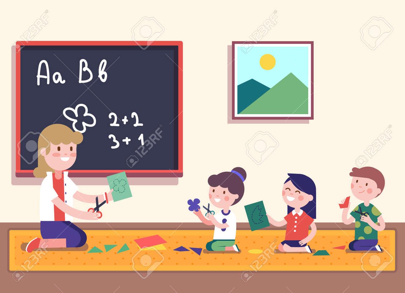 kindergarten teacher teaching math to her small pupils. kids