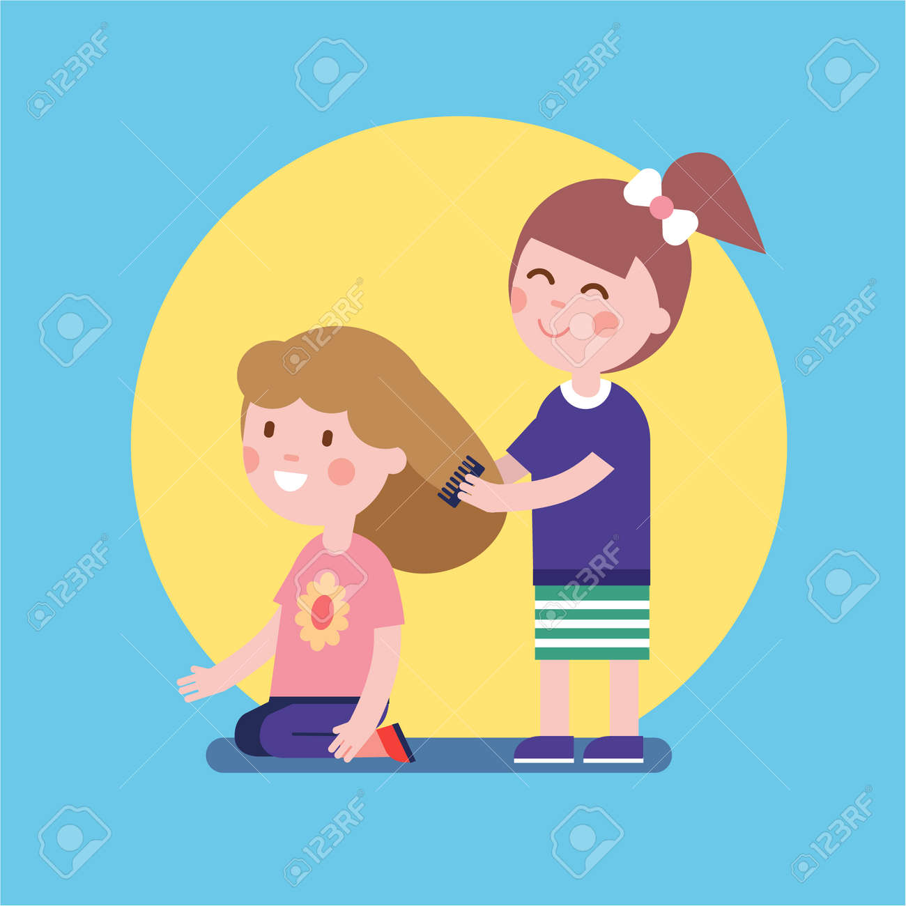 Girls Playing Hair Salon Game Kids Brushing With A Comb Modern Flat Vector