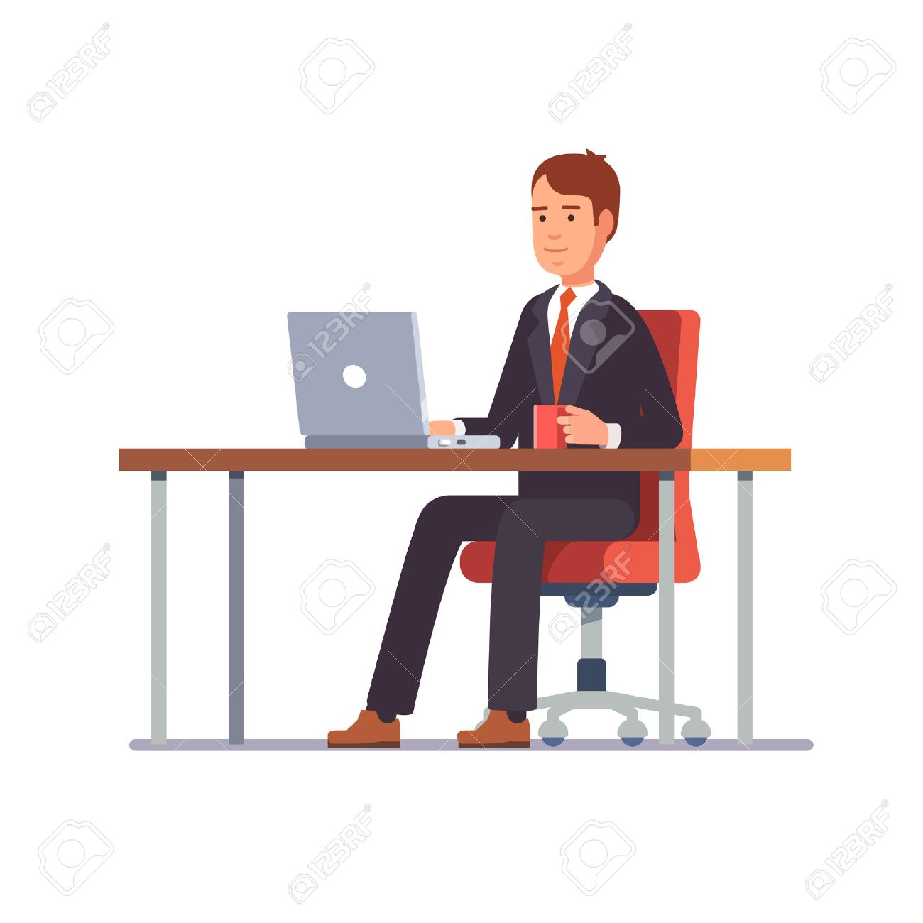 Business man entrepreneur in a suit working on a laptop computer at his clean and sleek office desk. Flat style color modern vector illustration. - 67653476