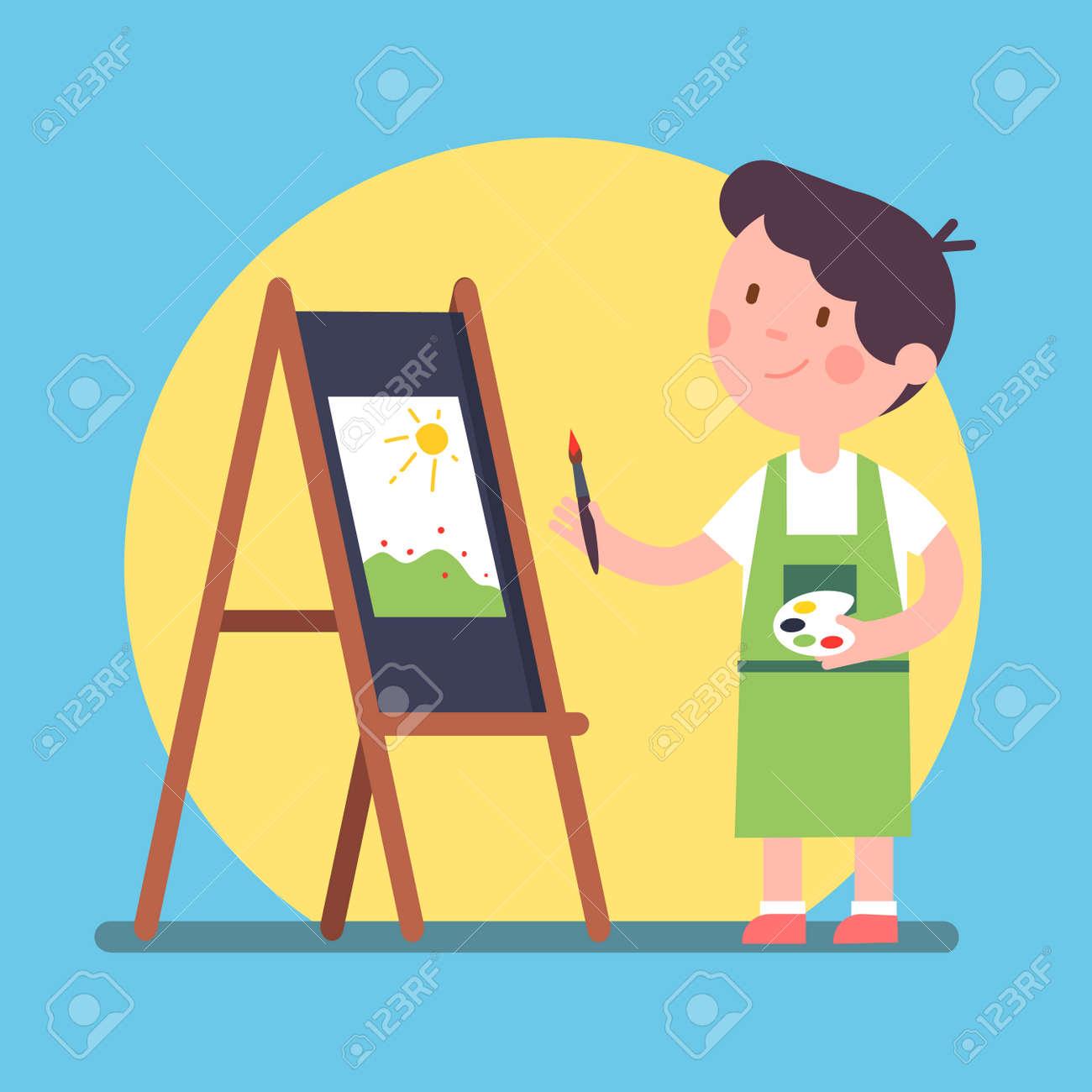 Lächelnder Kinderkünstler Der Ein Stück Kunst Auf Einem Segeltuch