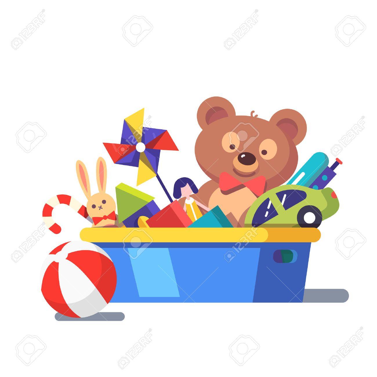 kids toy box full of toys modern flat style vector illustration rh 123rf com clipart toys free clip art toy box