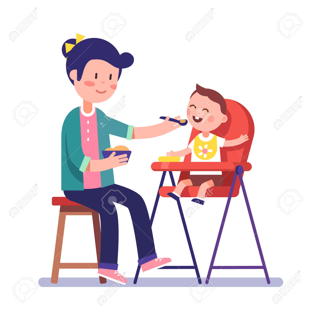 mother feeding her baby child sitting on kids eating chair. holding