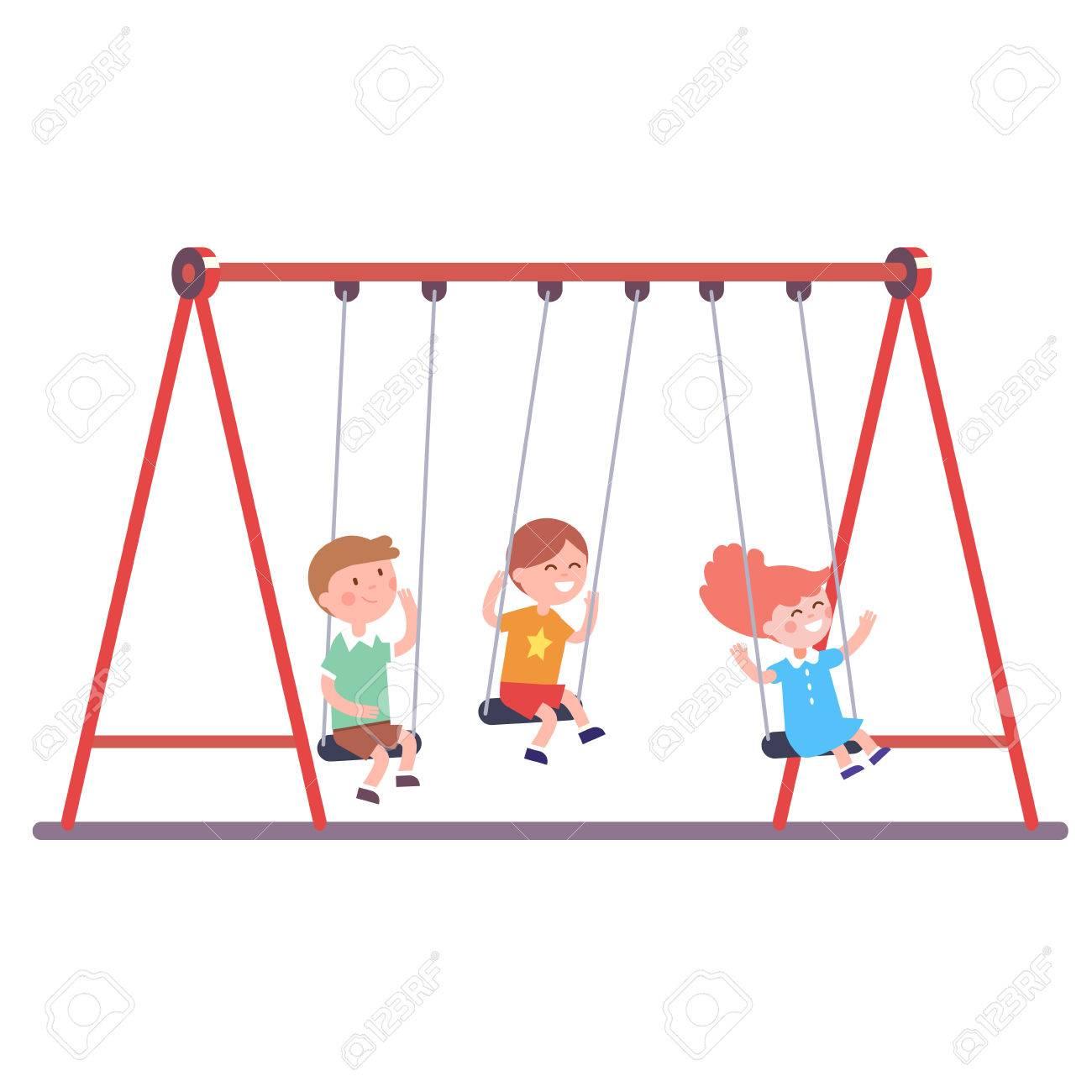 Drei Kinder Jungen Und Mädchen Schwingt Auf Einer Schaukel Zusammen