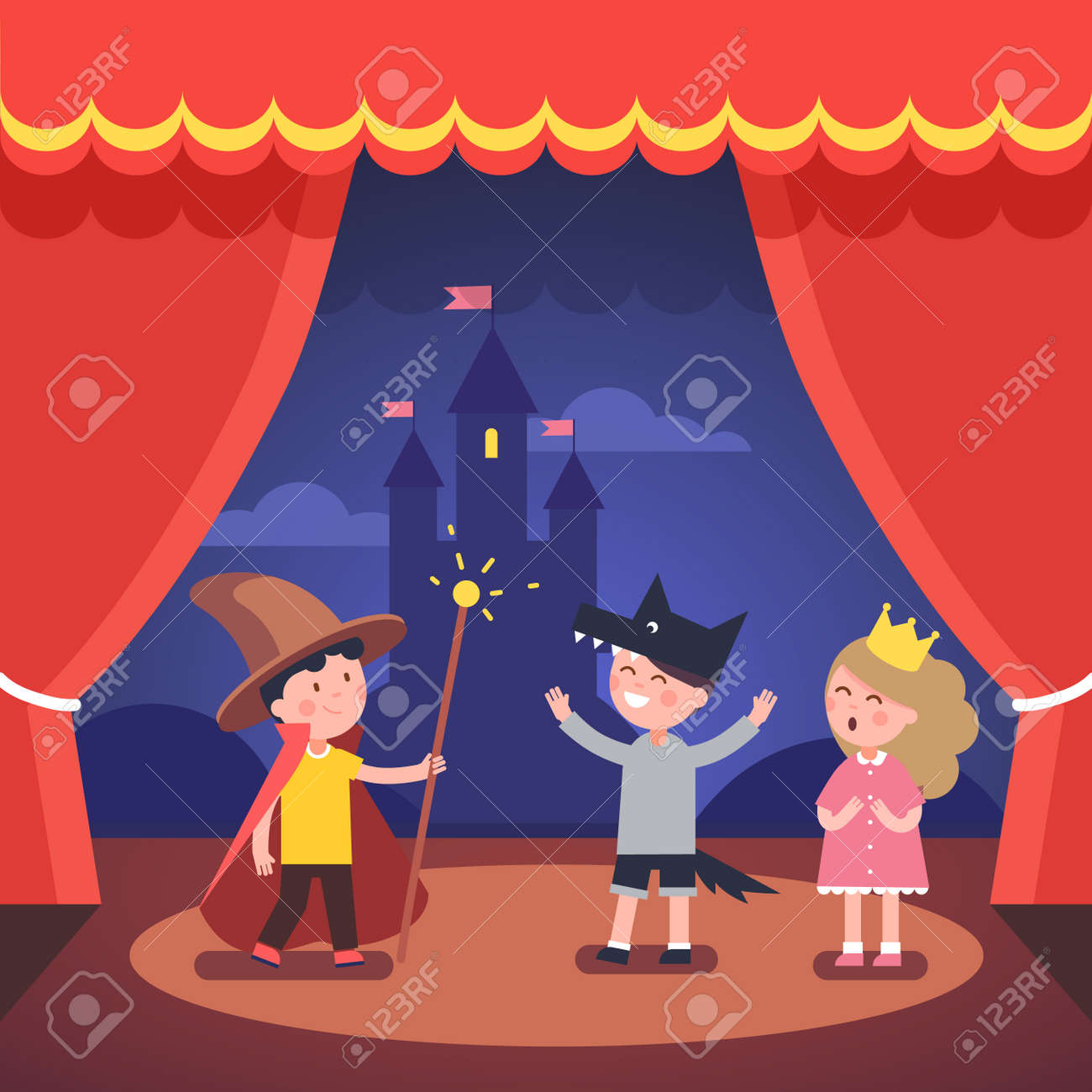 Theater curtains download free vector art stock graphics amp images - Kids Theater Performance Show On Scene With Red Curtains And Fairy Tale Castle Scenery Modern