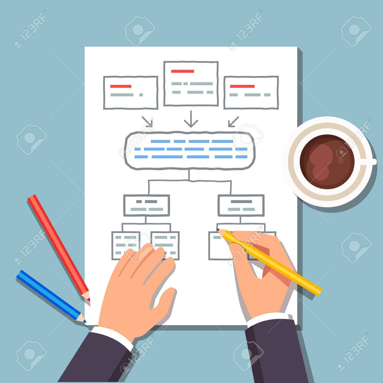 business man drawing a block diagram plan while drinking his Block Diagram Business Process options or steps business concept