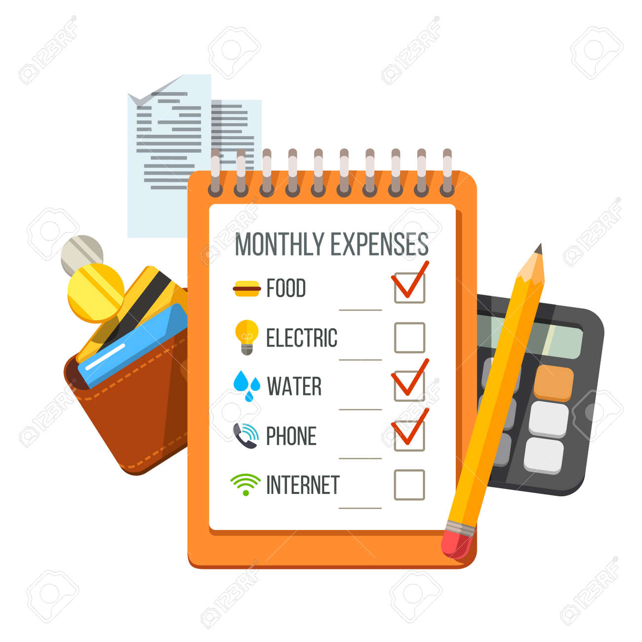monthly expenses planning checklist with receipts wallet and
