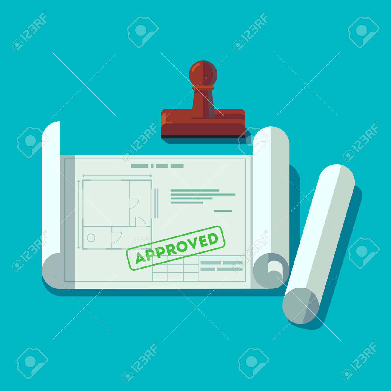 House planning technical blueprints received permission. Building plan approved stamp. Flat style vector illustration. - 67653584