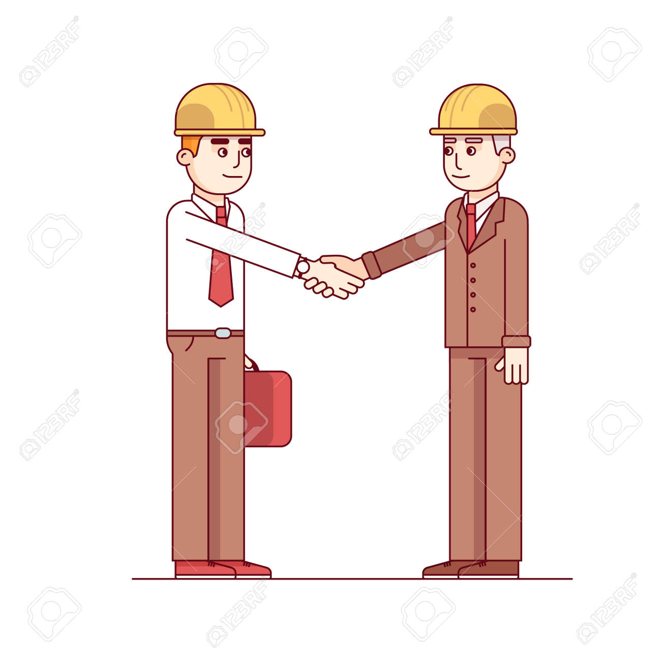 Two Architects Or Building Engineers Shaking Hands In Agreement