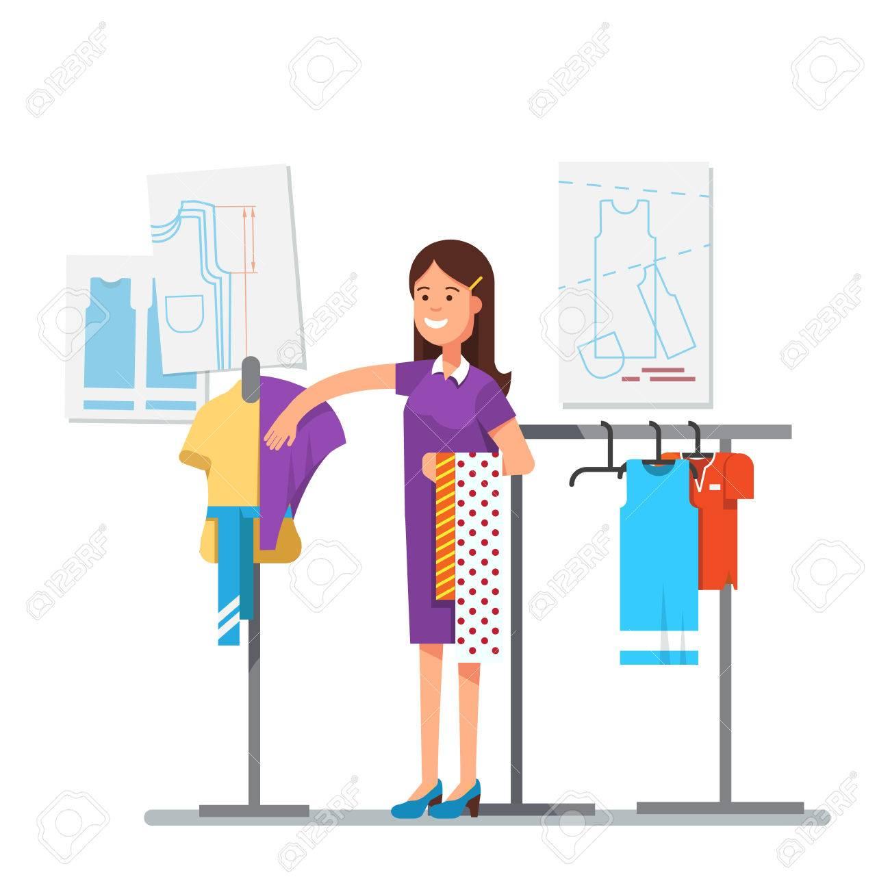 Ropa De Diseñador De Moda Que Trabajan En Proyecto Vestido Tratando ...