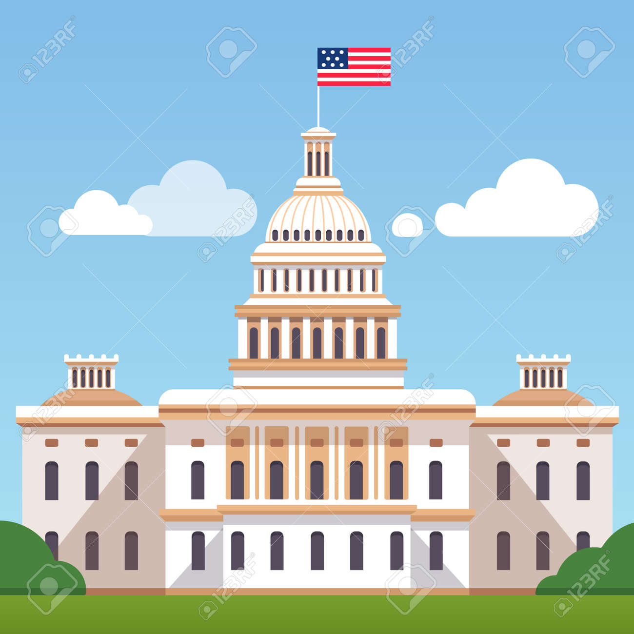 white house building with us flag on a blue sky with clouds rh 123rf com