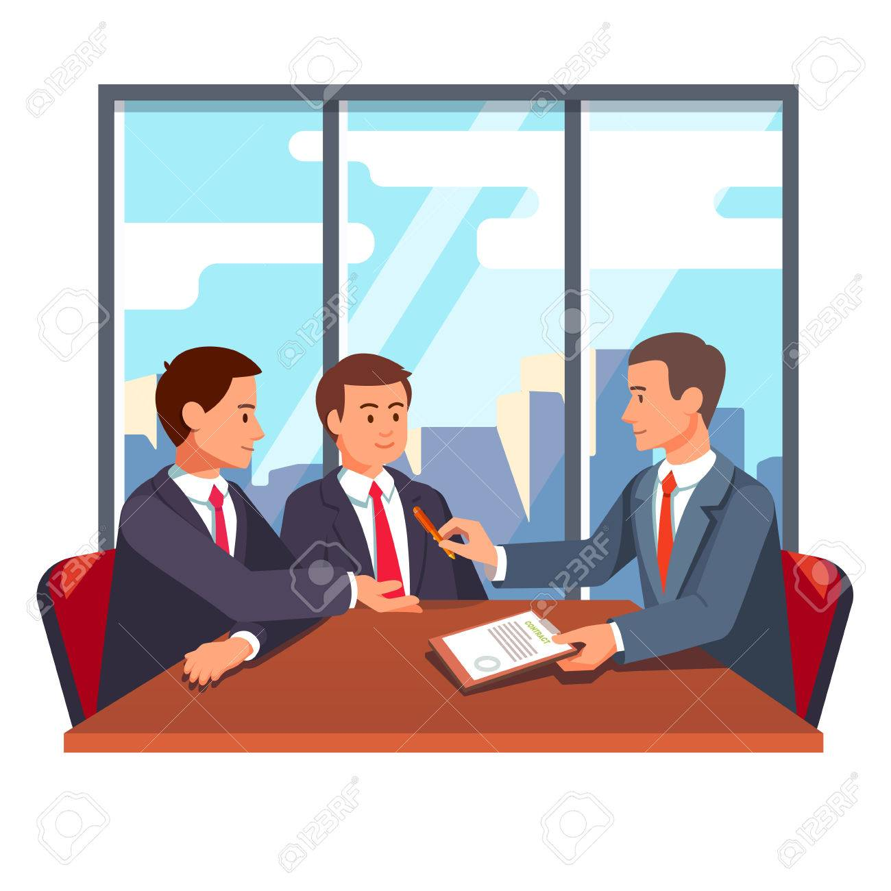 Business Man Or Lawyer Giving A Pen And Paper Contract For Signing ...