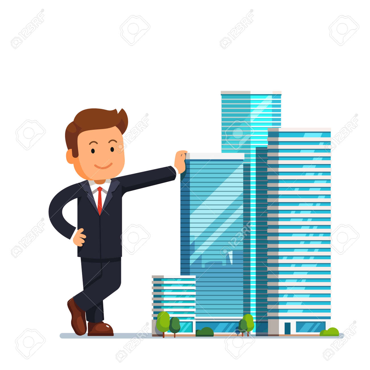 real estate developer entrepreneur concept business man owner of skyscraper buildings property standing and leaning