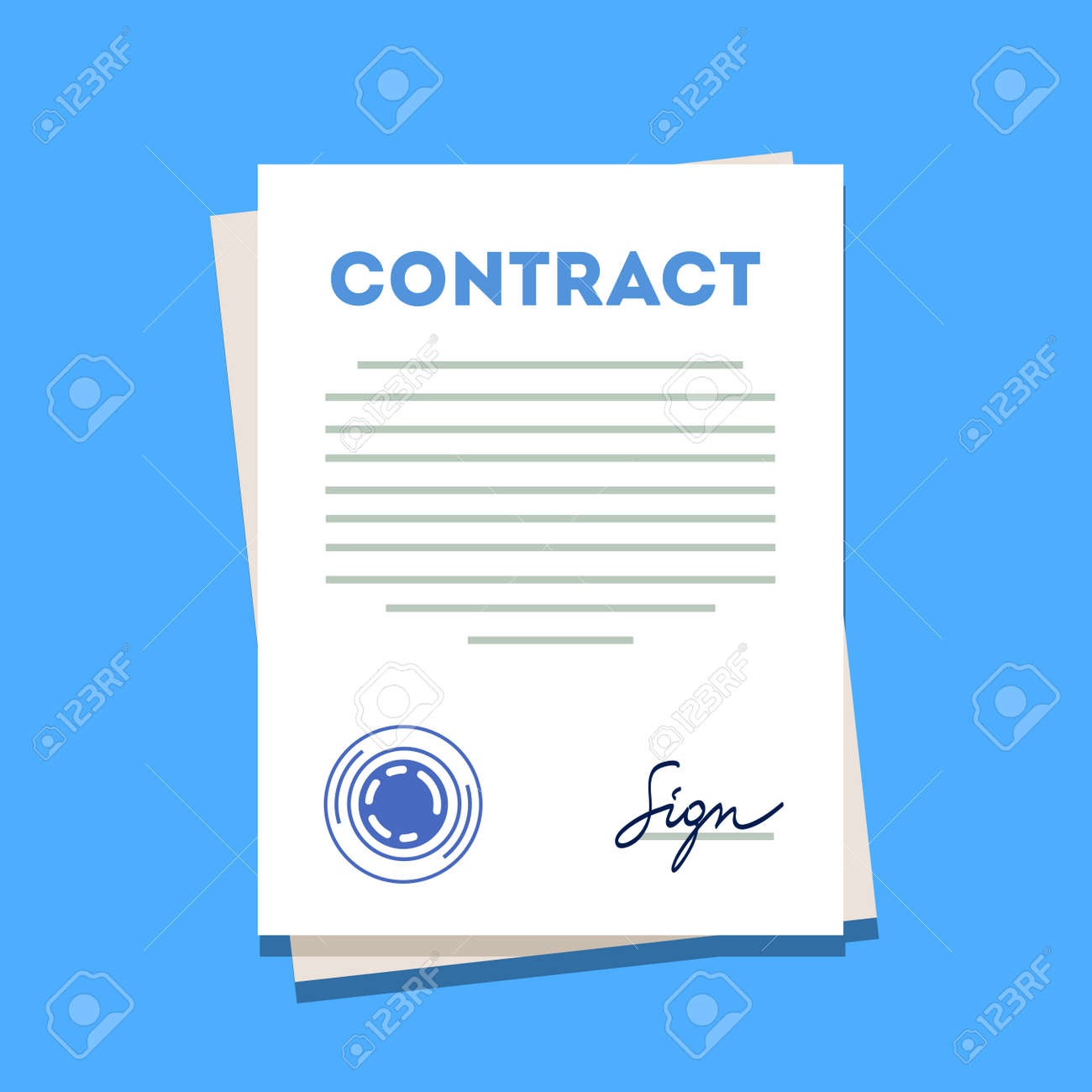 signed and stamped contract paper icon modern flat style vector