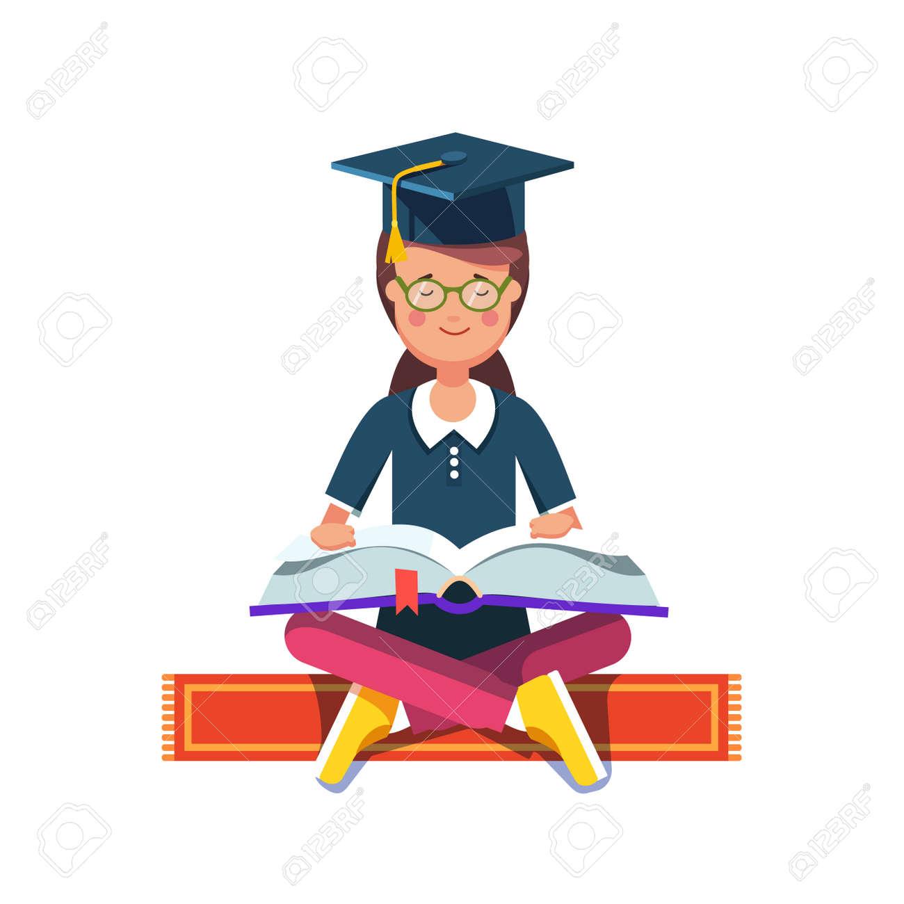 graduate student girl in mortar board hat sitting in lotus pose