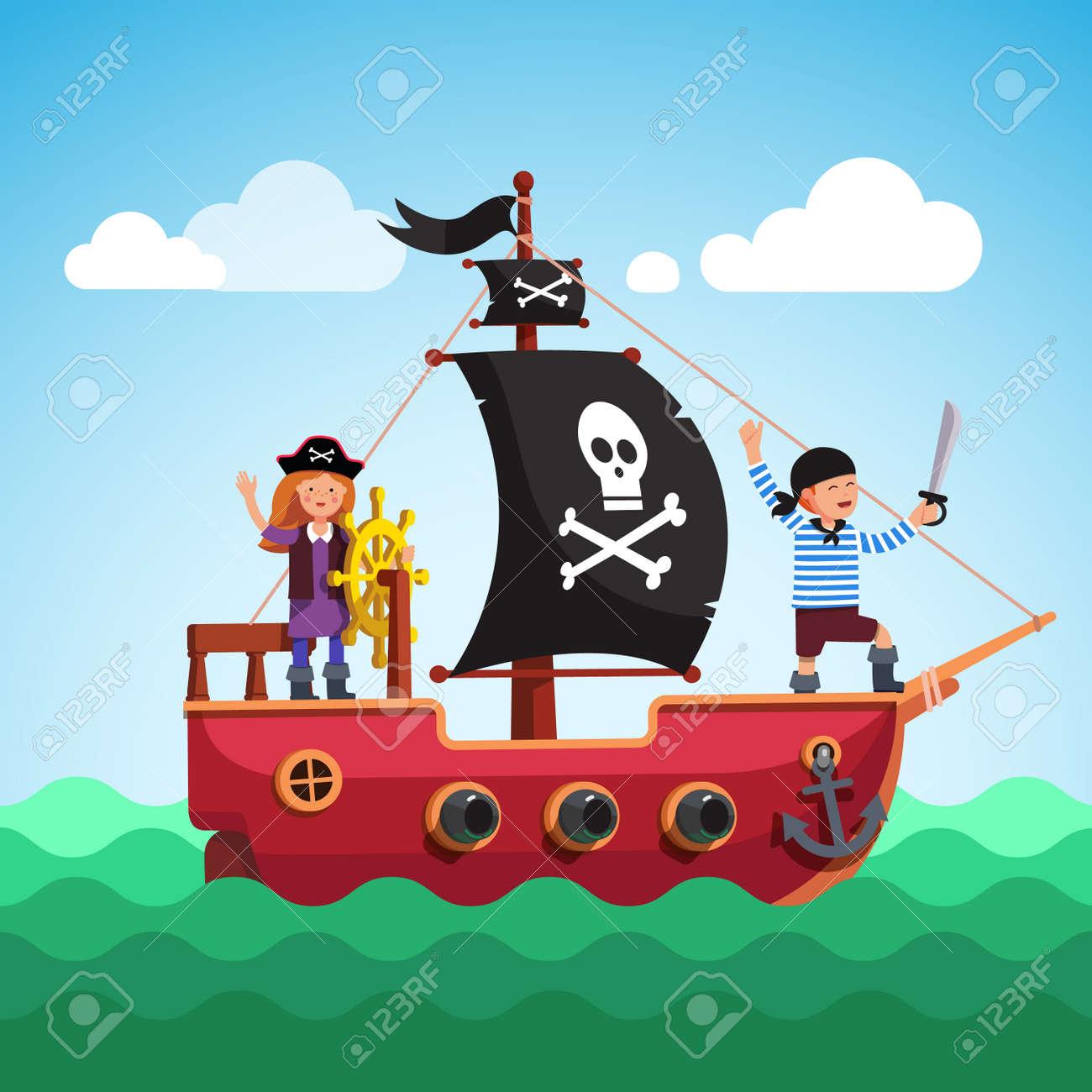 67654540-niños-barco-pirata -con-el-muchacho-y-el-capitán-chica-de-la-vela-del-timón-en-el-mar-negro-con-la-bandera-y-.jpg dca22b58189