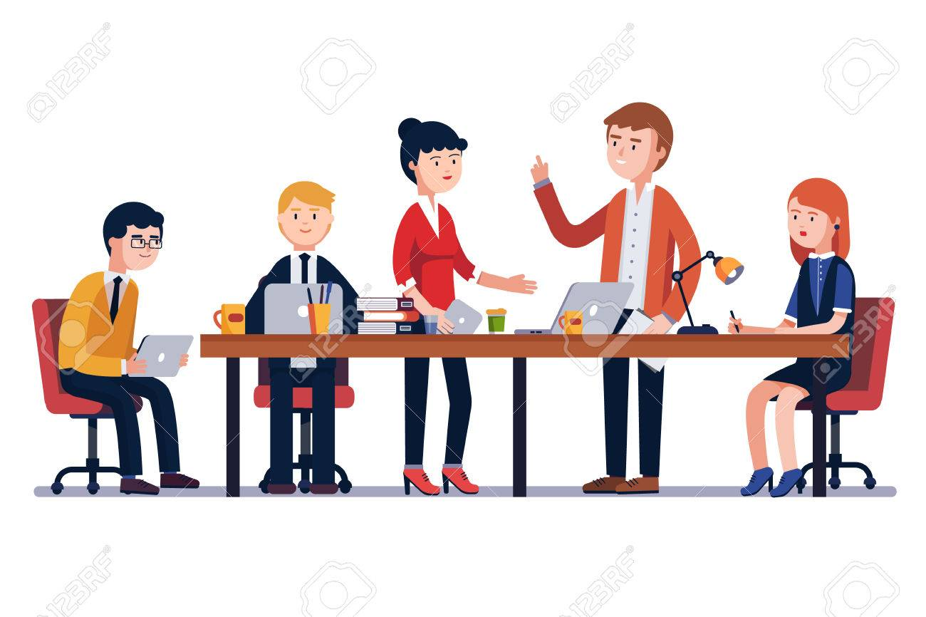 Business man meeting at a big conference desk. Startup company. People working together. Modern colorful flat style vector illustration isolated on white background. - 67654553