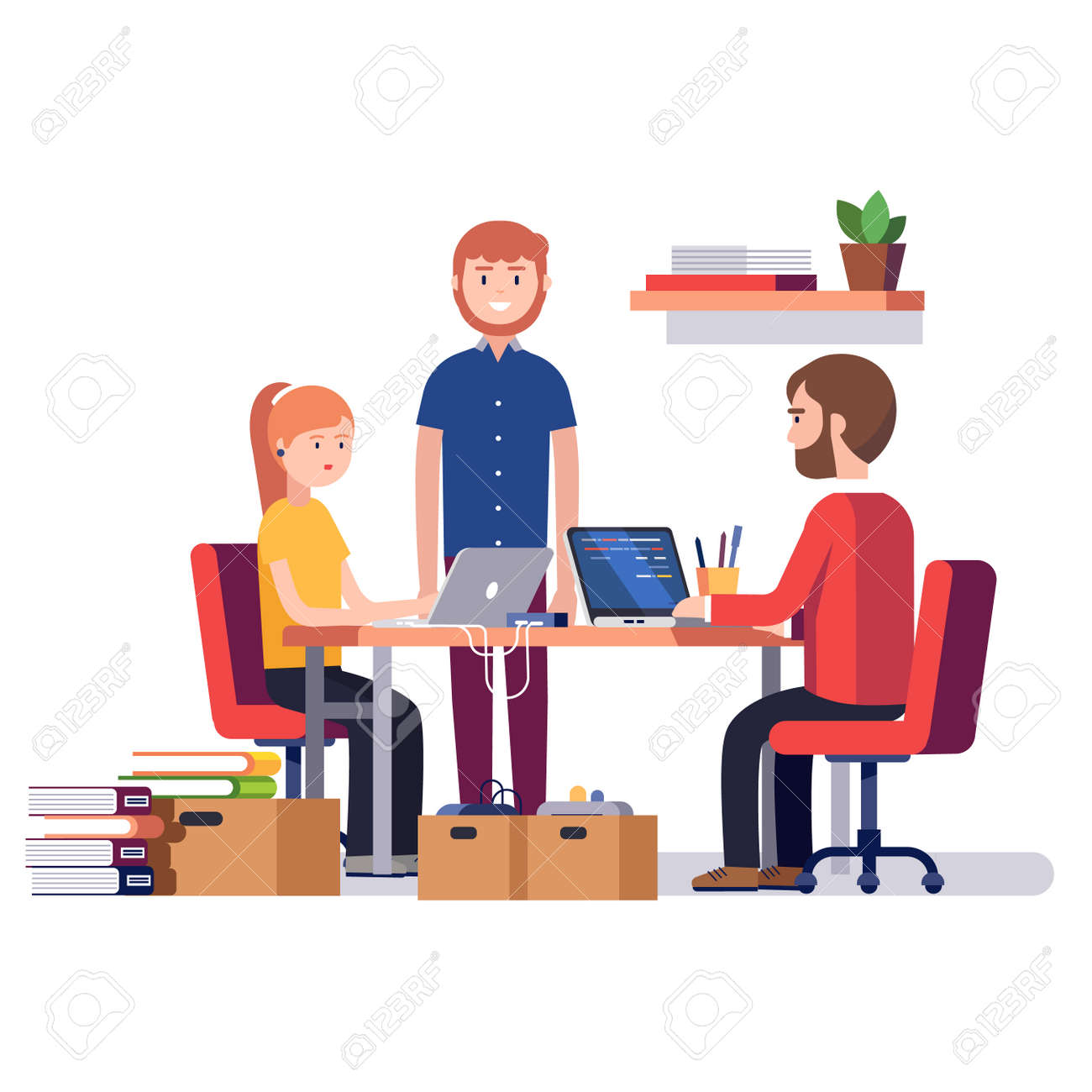 Small start up company. Game or app development. Group of young students software developers programming code together at home garage. Flat style vector illustration. - 67654577