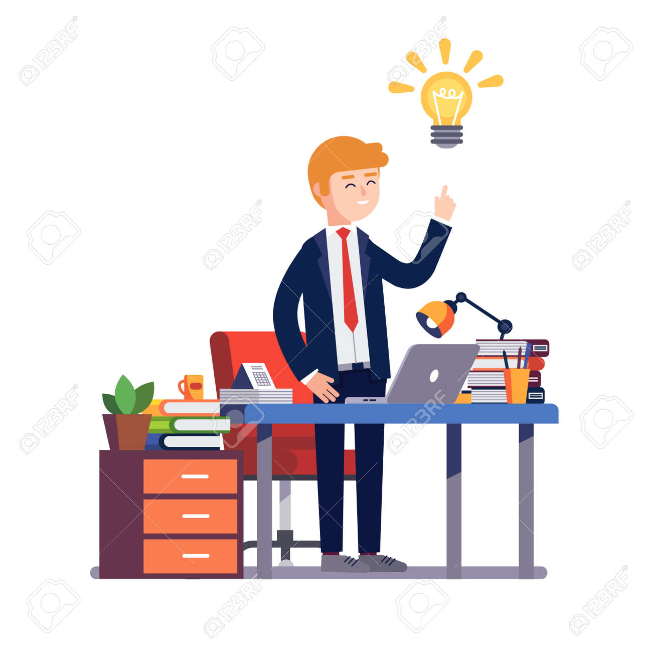 Business man entrepreneur in a suit stands happily having a new bright solution idea at his office desk. Modern colorful flat style vector illustration isolated on white background. - 67654590