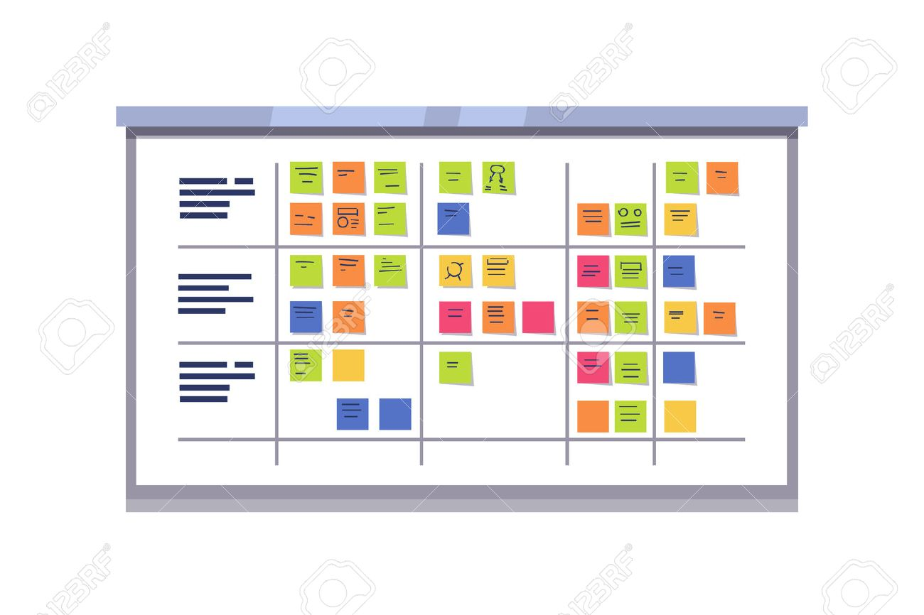 White scrum board full of tasks on sticky note cards. Iterative agile software development framework for managing product development. Flat style vector illustration isolated on white background. - 67654601