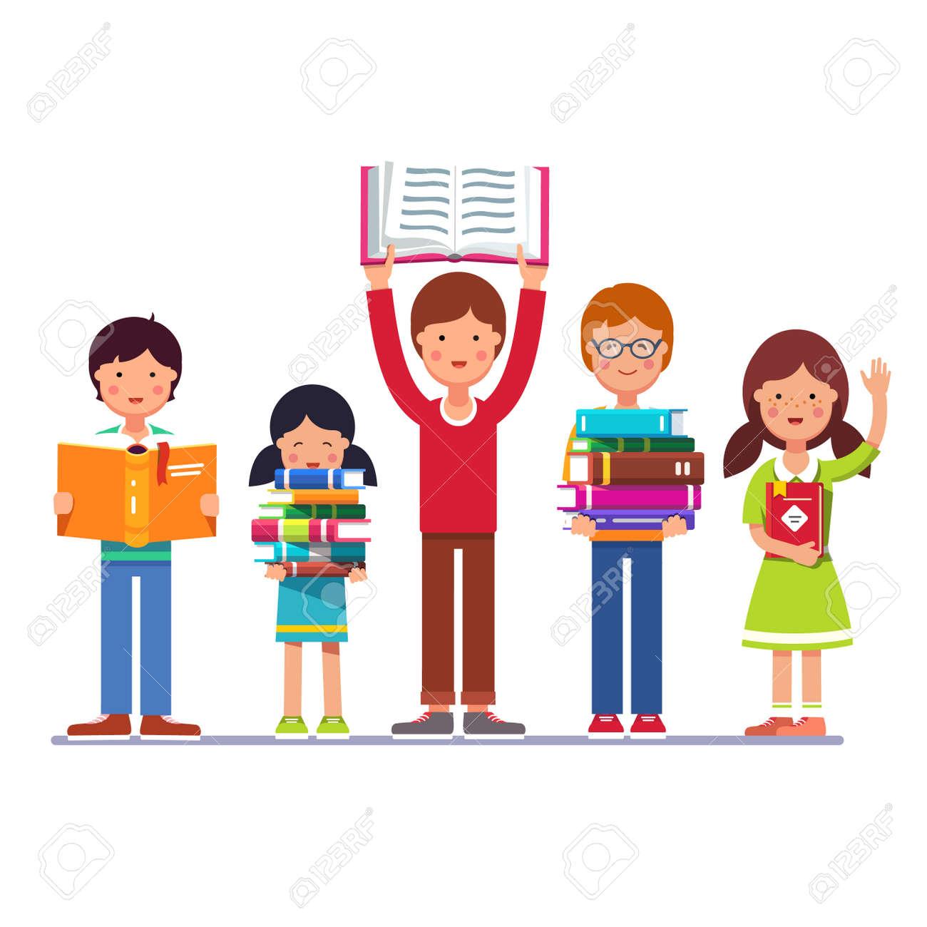 Cinco Niños En Edad Preescolar De La Escuela Y Los Niños Y Niñas Que ...