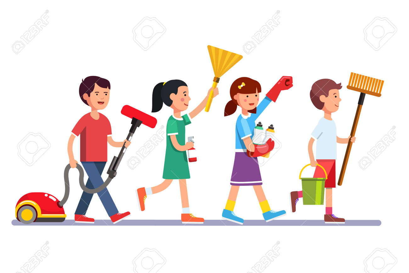 Kids cleaning team doing household chores. Inspired boys and girls cleaners walking in row line with vacuum, brooms and water bucket. Colorful flat style cartoon vector illustration. - 67654827