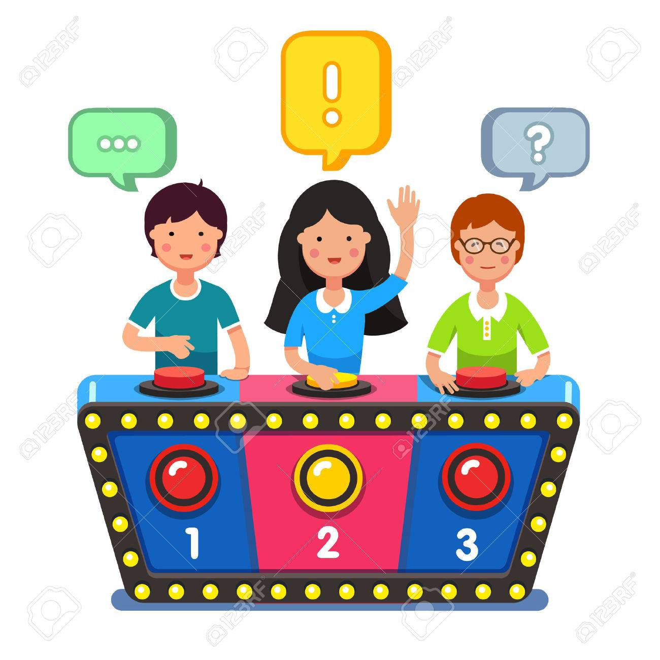 Kids Playing Quiz Game Answering Questions Standing At The Stand With Buttons Girl Pressed