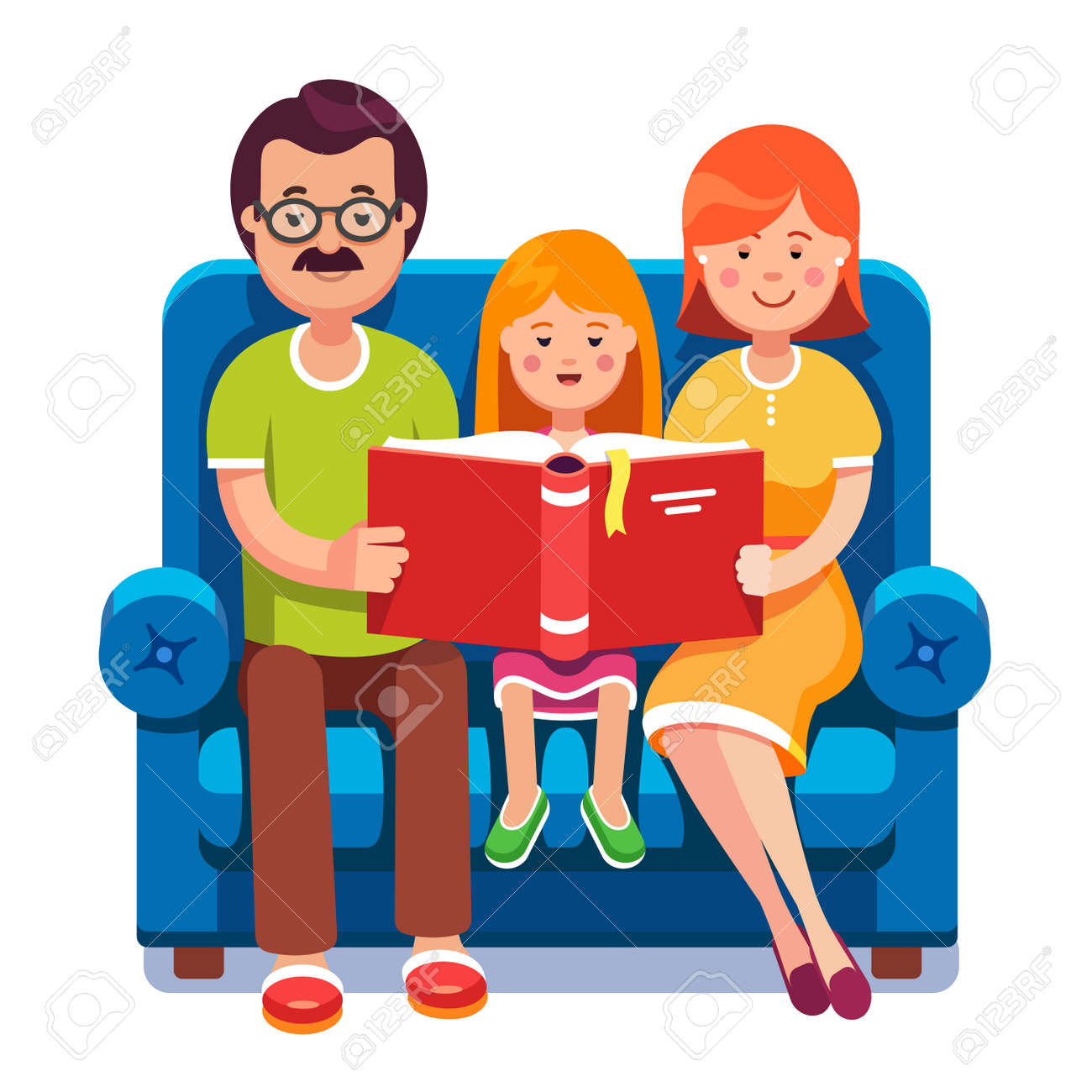Family Mom Dad And Daughter Reading Story Book Together Sitting On The Couch