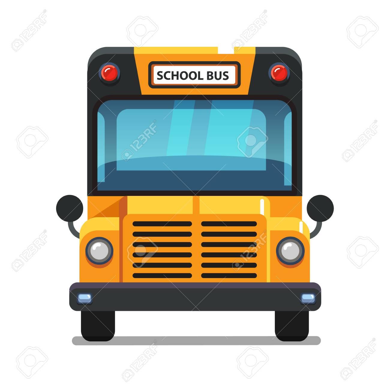 Vue De Face De L Autobus Scolaire Jaune Illustration De Vecteur De Style Plat Coloré Isolé Sur Fond Blanc