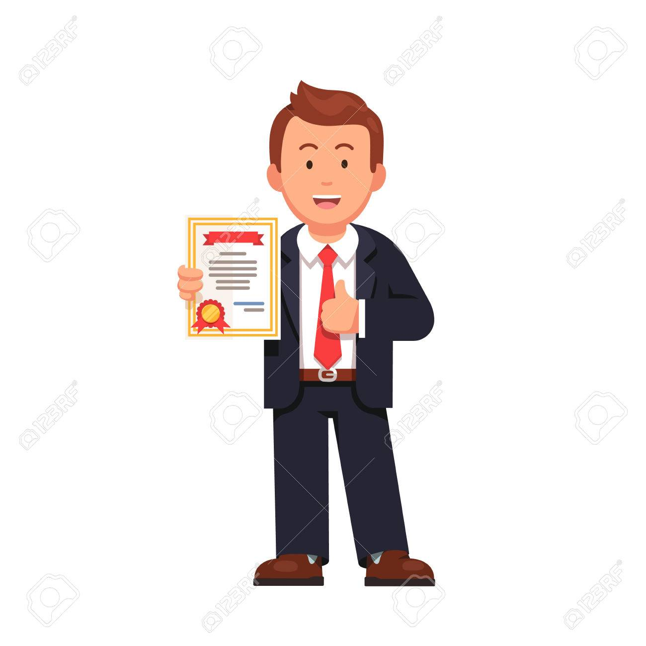 Standing business man holding certificate or diploma and showing thumbs up gesture. Flat style vector illustration isolated on white background. - 67658188