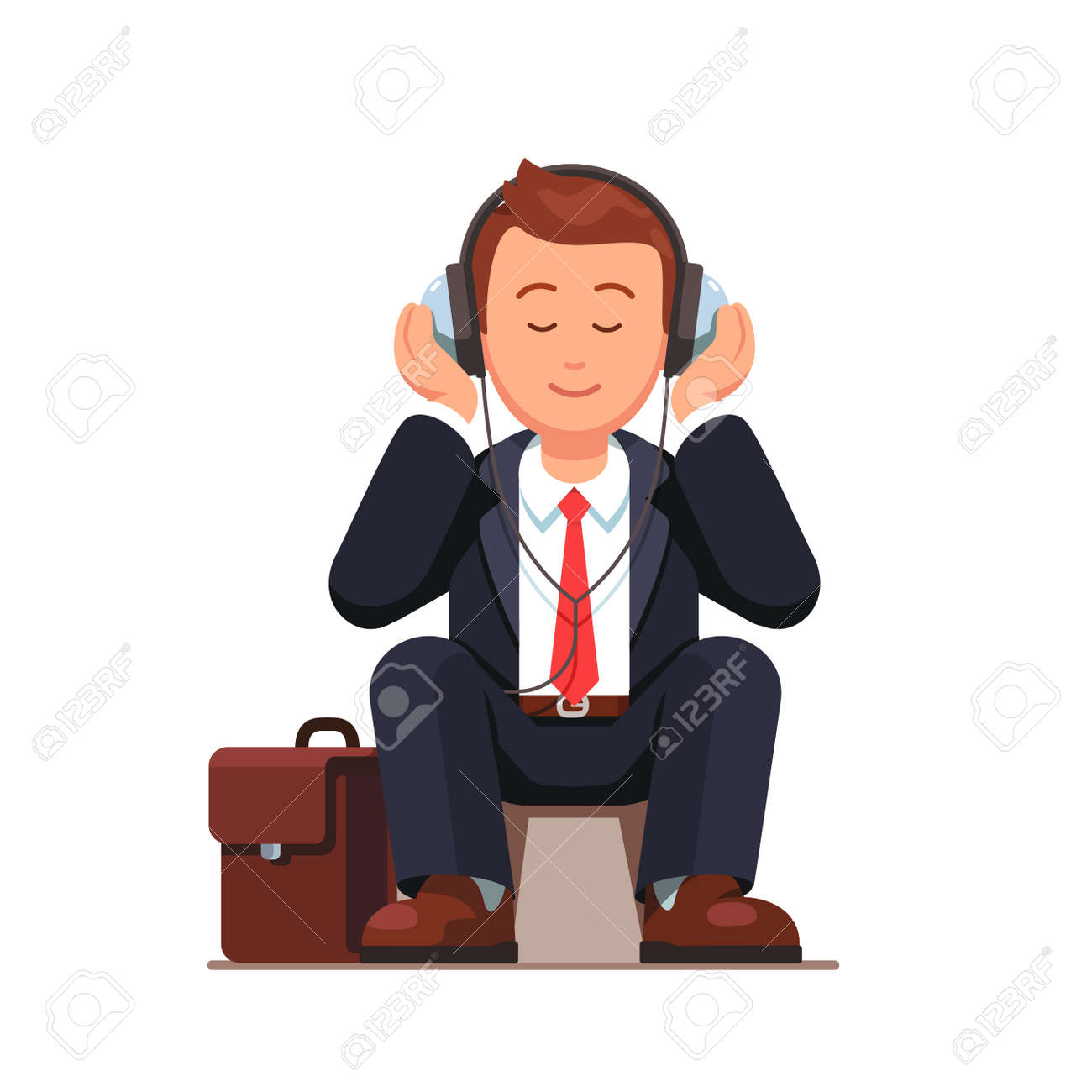 Business man listening to music wearing big headphones and sitting near his briefcase. Flat style vector illustration isolated on white background. - 67658221