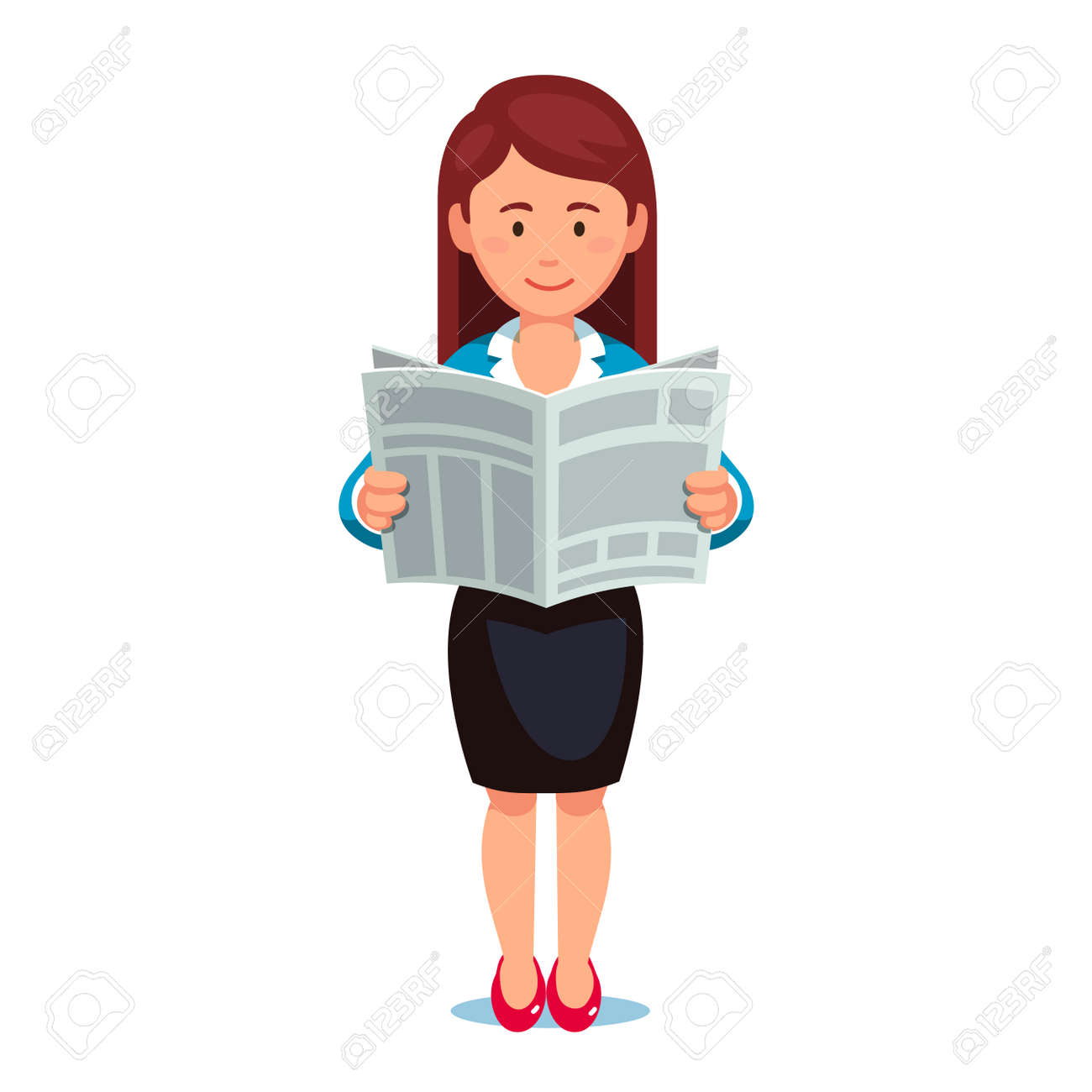 standing business woman in formal dress reading news paper. holding