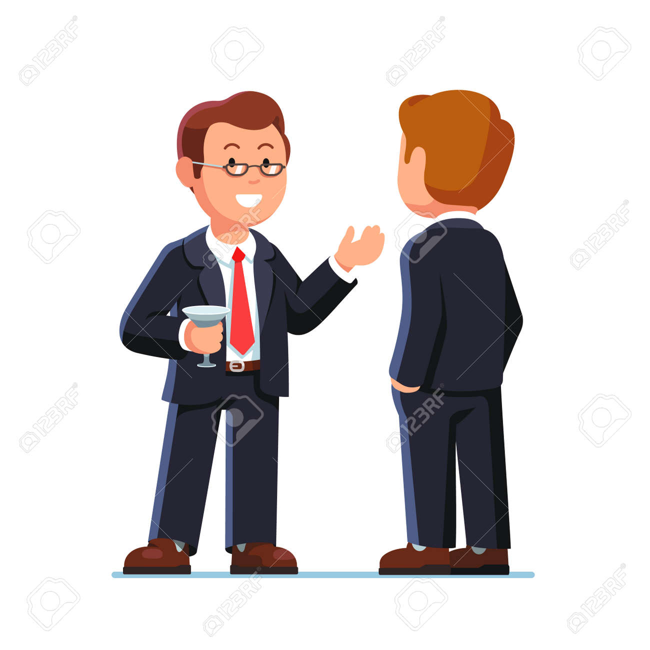 Business man executives talking and drinking at cocktail party or fundraiser event. Flat style vector illustration isolated on a white background. - 67658252