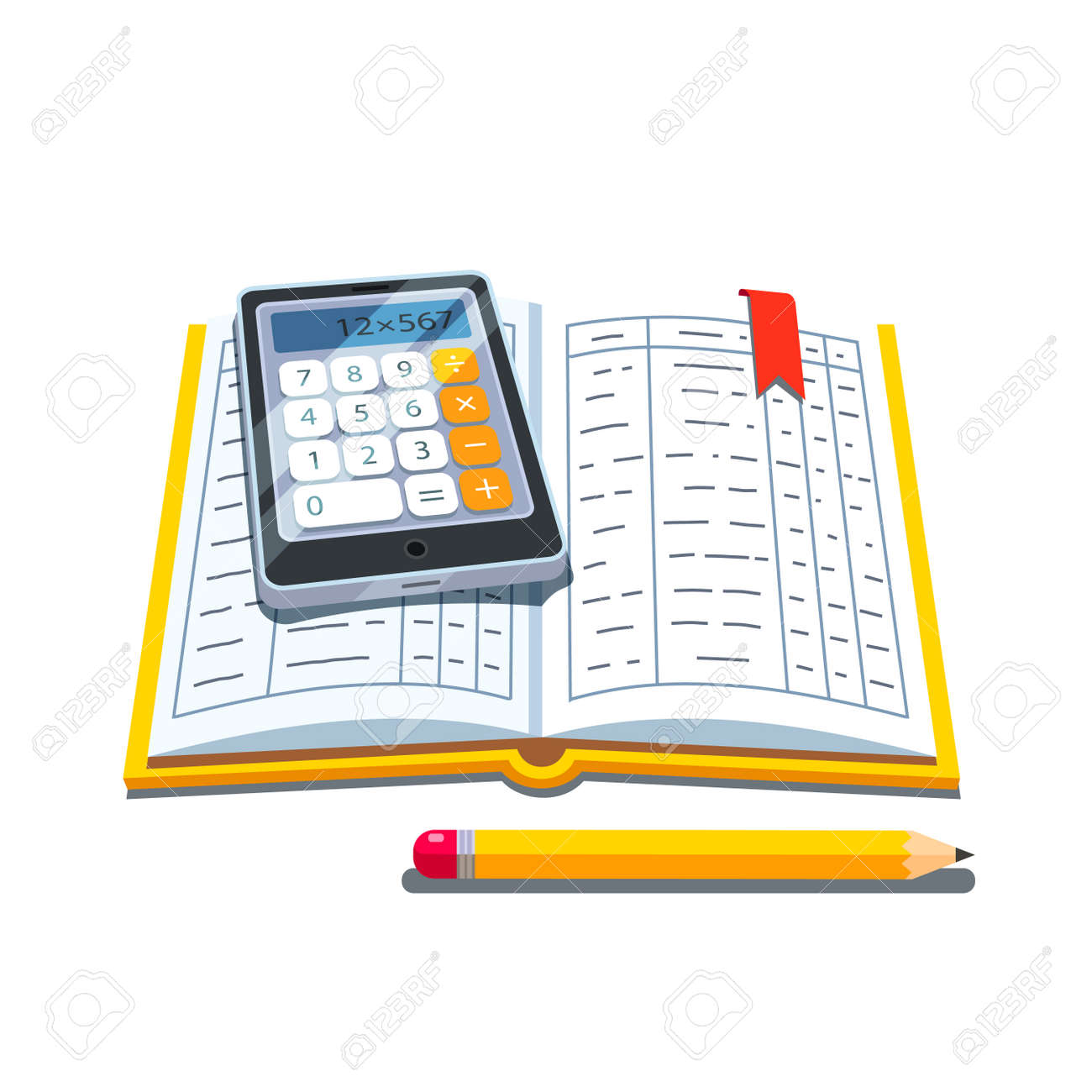Open Accounting Book Or Ledger Tables With Calculator And Pencil Flat Style Vector Illustration Isolated