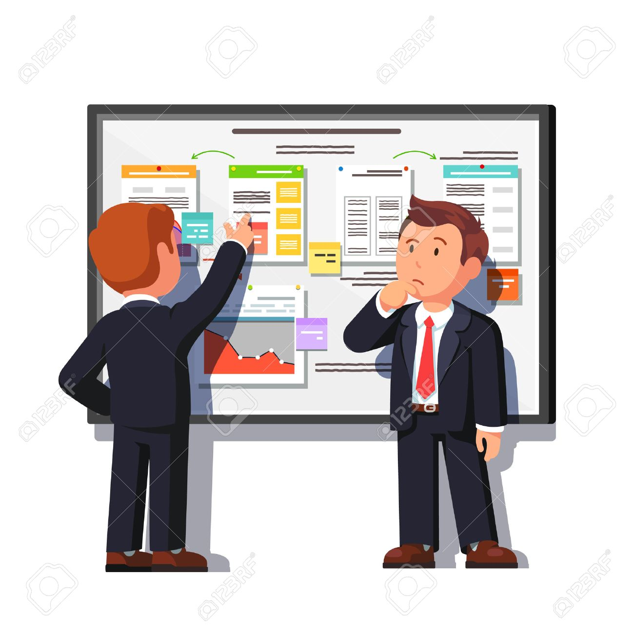 Business consultant showing and explaining project process decomposition diagram on big white board to boss. Flat style vector illustration isolated on white background. - 67658258