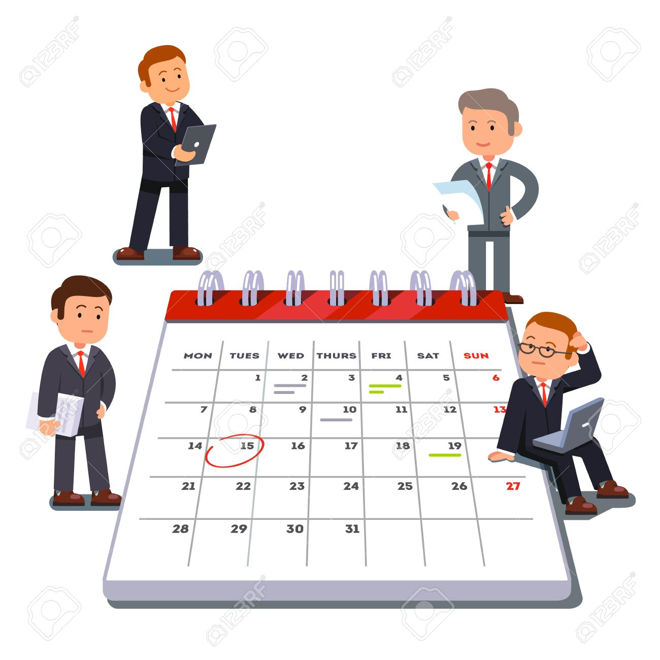 Company business team planning and scheduling operations agenda on a big spring calendar. Flat style vector illustration isolated on white background. - 67658261