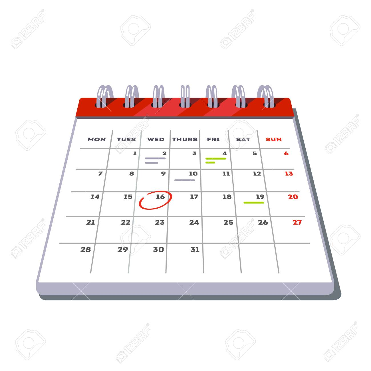Month Lined Big Calendar Template Icon With Planned Work And