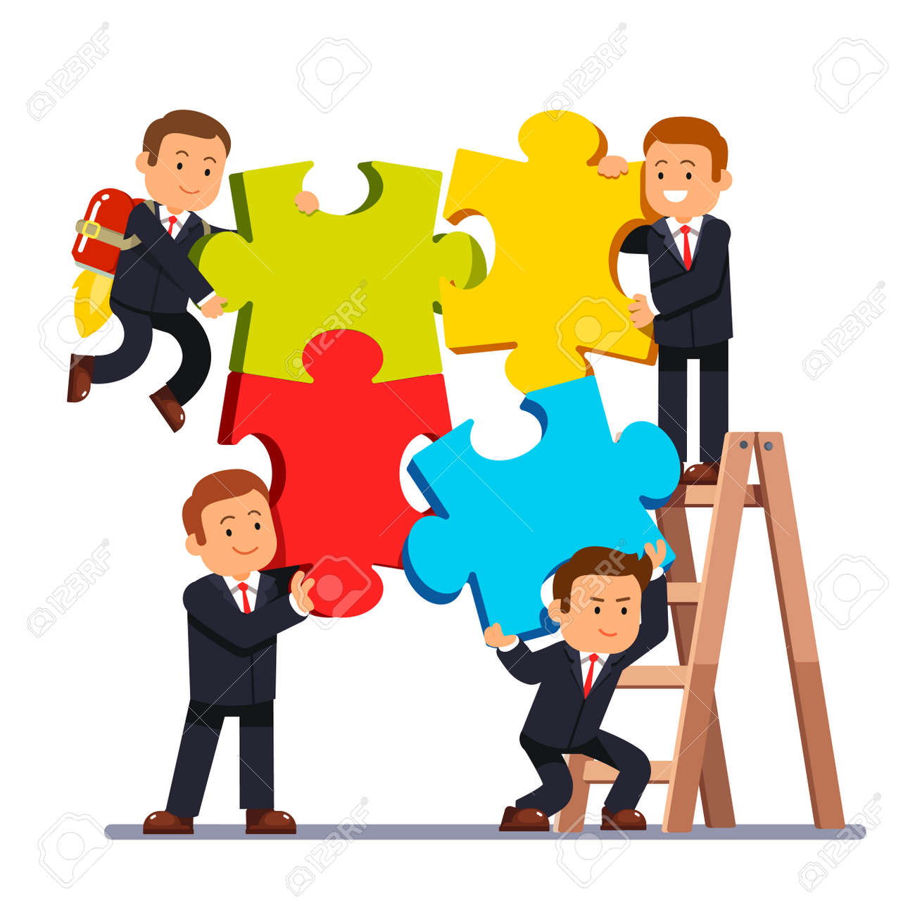 Company Business Team Joining Huge Jigsaw Puzzle Pieces Together Group Of Businessman Working On A