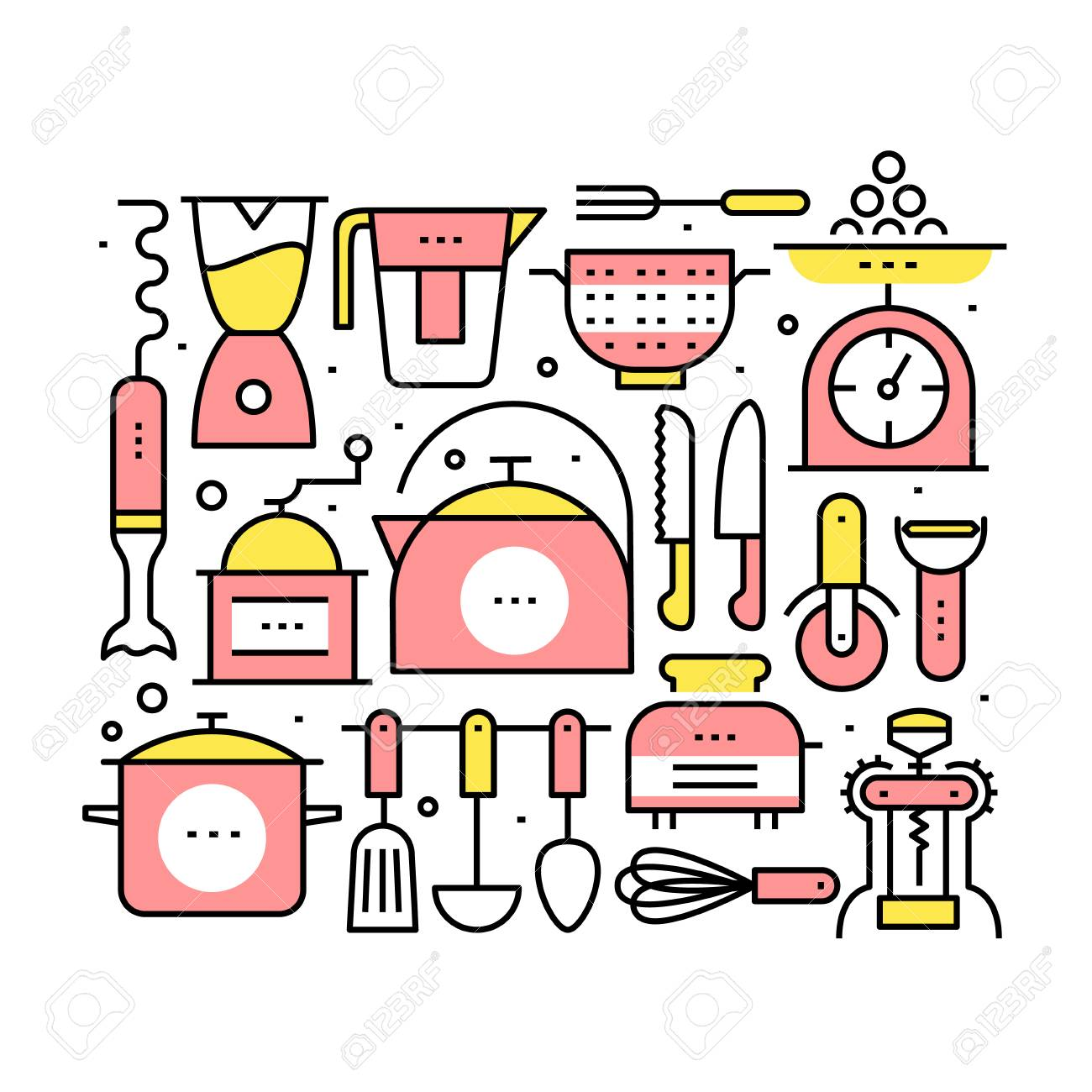 Collage With Kitchen Utensils And Appliances Royalty Free Cliparts ...