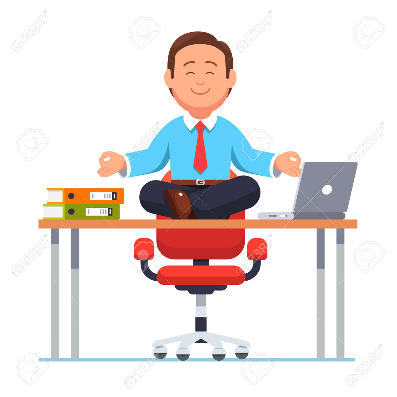 Business Man Sitting On Office Desk In Yoga Pose Royalty Free Cliparts Vectors And Stock Illustration Image 77141698