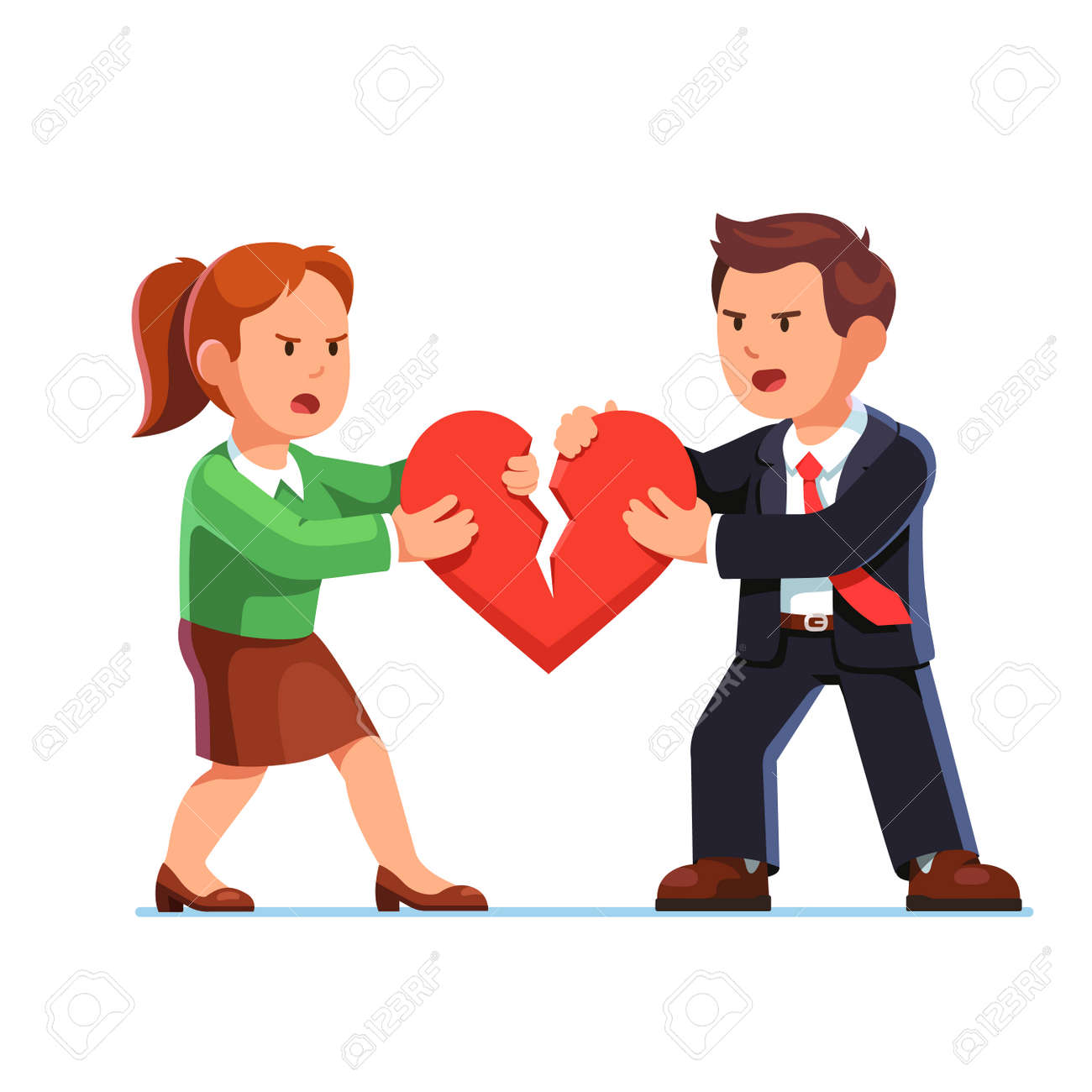 Man and woman tearing red heart in halves - 77357994