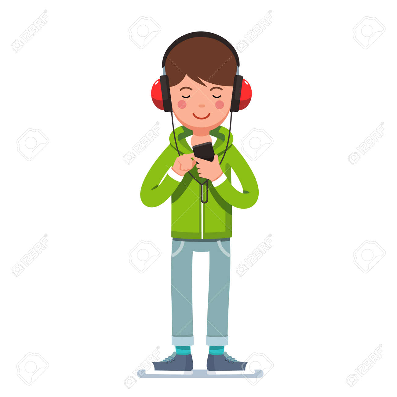 teen boy in headphones listening to music on phone royalty free