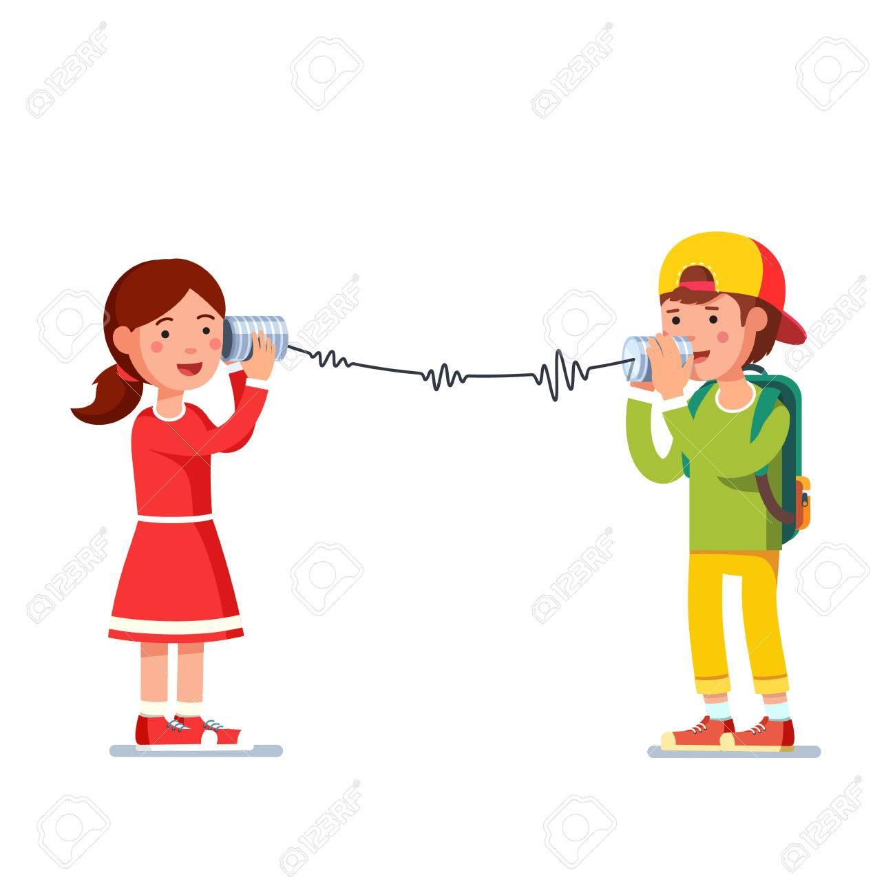 Kinder Mädchen Und Junge Reden über Verdrahtete Blechdosen Telefon ...