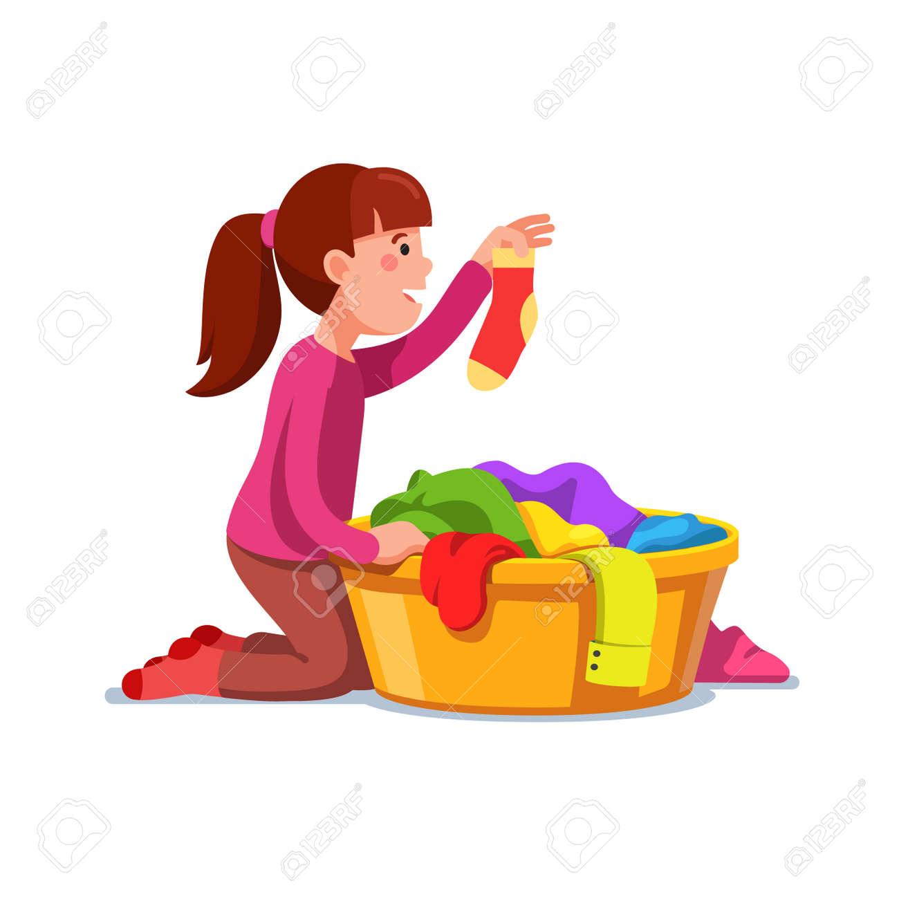 Mädchen Kid Tun Hausarbeit Chores Sortierung Wäsche Vektor