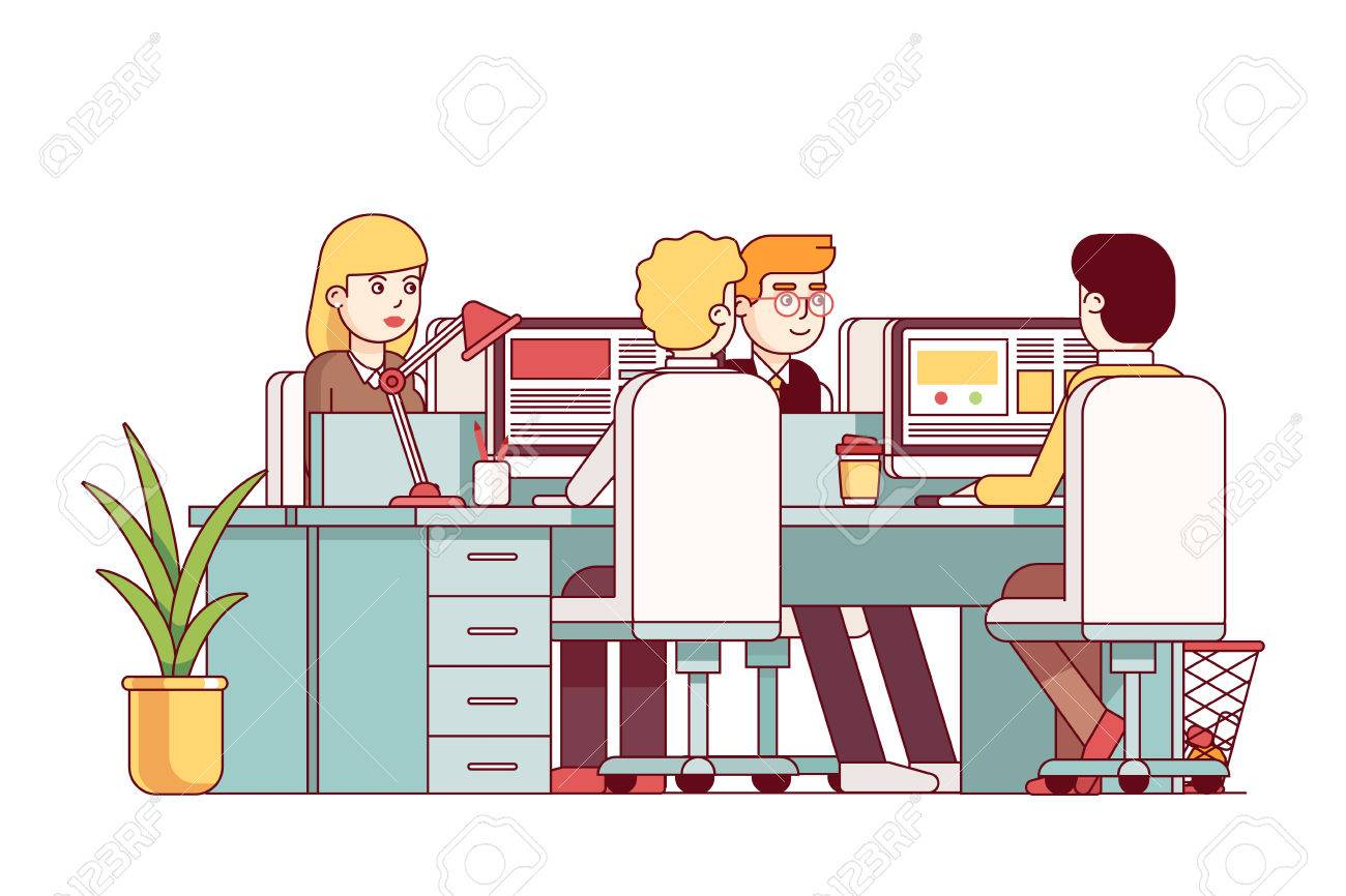 Junger Mann Und Frau Sitzen An Kombinierten Schreibtischen Arbeiten
