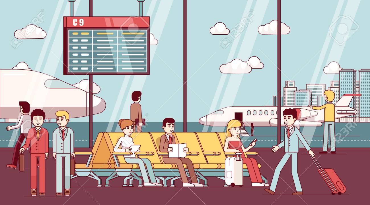 Business people sitting in airport waiting room - 83687791