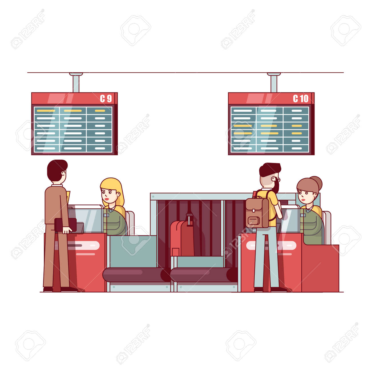Woman Working At Airport Check In Desk Counter Royalty Free Cliparts